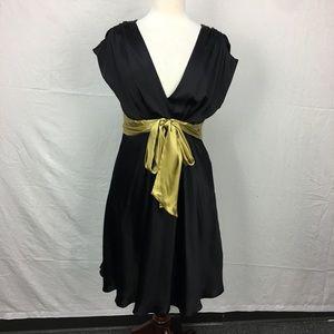 Nine West Black V neck waist Belt dress